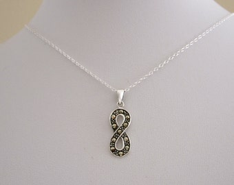 Marcasite stones INFINITY Eternity sterling silver pendant with chain/necklace, eternal love necklace