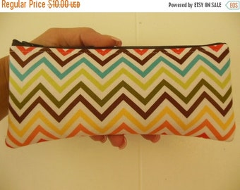 Chevron Bermuda zig zag Pencil Case/cosmetic pouch-Owls on branches out of print fabric