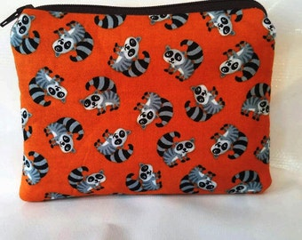 Racoon print coin/accessory pouch
