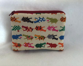 Hippos Small zipper accessory pouch