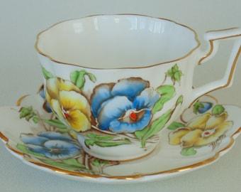 Salisbury Bone China Blue & Yellow Pansies Cup Saucer Set PRISTINE