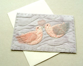 Romantic textile card, LOVE birds card, for spouse card, for girlfriend gift, anniversary card, romantic gift for him, rose quartz birds