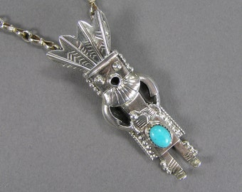 Sterling Kachina Pendant, Morning Singer, Native American, Signed Sterling, Turquoise, Vintage Ethnic Jewelry