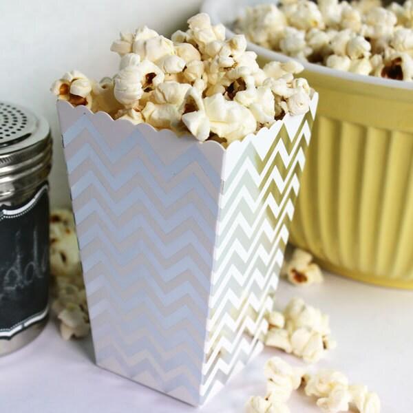 Blue Popcorn Favor Boxes : Mini silver popcorn boxes blue party favor by bakersbling