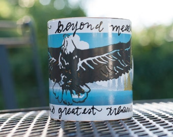 """Heat-Changing Ravenclaw Eagle Mug - """"Wit beyond measure is man's greatest treasure"""" - Hand-embellished Hogwarts mug - Medium sized"""
