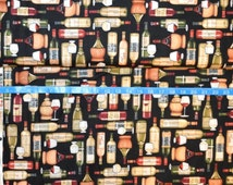 RJR. Over a Barrel. Wine Bottles/Glasses - Cotton fabric BTY - Choose your cut