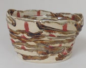 Vase-Vessel-Bowl-Ribbon Sculpture-Hand Built-One of a Kind-Studio Pottery-Cream-Red-Brown-