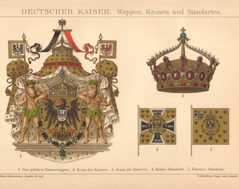 1894 Greater Coat of Arms of the German Emperor, Crown of the Empress and Heraldic Flags Antique Chromolithograph to Frame