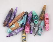 Mixed lot jewelry bead potluck tyvek Fiber Bead steampunk tube beads art yarn embellishment drop spindle knitting