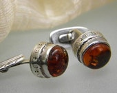 sale Sterling silver cufflinks antique style with amber mens jewelry cuff links art nouveau, handcrafted jewelry