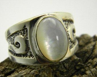 Βig sterling silver Mother of pearl men's ring , stone ring for man, handmade wide ring for man size 11  SALE  20% white stone men's ring