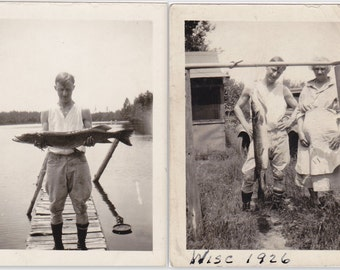 Great Northern Pike- 1920s Antique Photographs- Fishing Trip- Fisherman- Fresh Caught Fish- Found Photos- Vernacular- Paper Ephemera