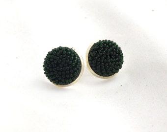 Beaded Ear Studs Earrings, Green Post earrings, Beaded Earrings, Seed Beads Earrings, Post earrings, Gift For Women, round small earrings
