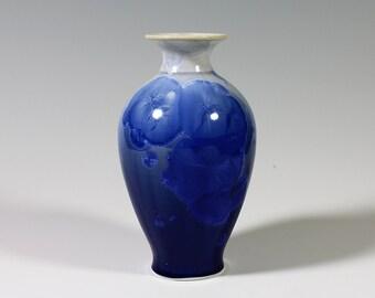 Sapphire Blue Gradient Crystalline Glazed Vase