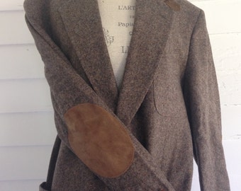 Vintage Brown Stafford Professor's Jacket w  Brown Suede Elbow Patches