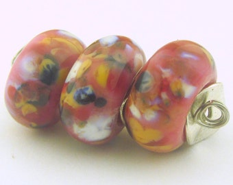 Handmade Lampwork Dark Rose base  and Organic Violet, Rose and White Frit (BHB) Big Hole Bead (3 )- Organic Collection - LEteam