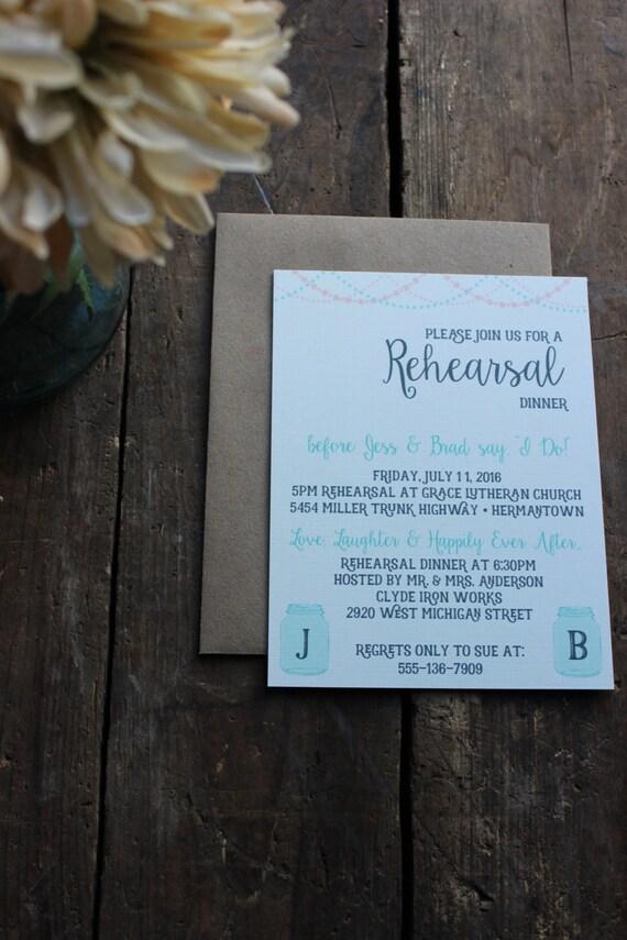 Rustic Rehearsal Dinner Invitation // Mason Jar // String of Lights // Country Outdoor Invite // Magnet Optional