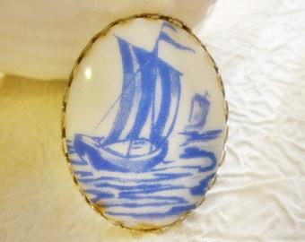 Vintage Bolo Tie Ship Cabochon Piece