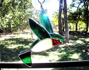 LT Stained glass Hummingbird blue green sun catcher light catcher wild bird 5 x 5 window ornament my hand made in the USA art unique gift