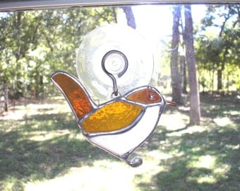 LT Stained glass Wren bird suncatcher light catcher amber tan my hand made in the USA window hanging art glass unique mothers day gift wild