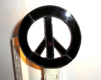 LT Stained glass Peace Sign night light lamp Woodstock black and white