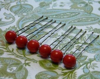 6 Coral Red 10mm Swarovski Crystal Pearl Hair Pins