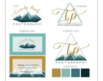 Branding Set - Mountain Watercolor - Gold - Logos, Watermark, Business Card - Customizable - Predesigned - Option to retire design