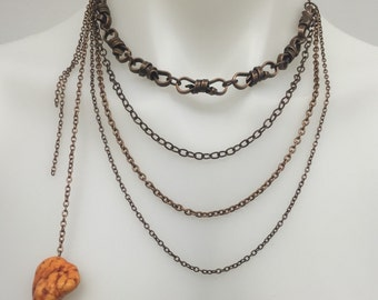 CA multiple Chain Layers Statement Necklace_ Copper