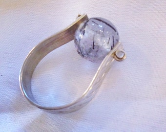 Modern minimalist Sterling Silver Ring, Faceted quartz sphere
