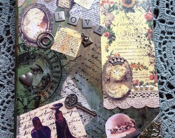 Vintage Inspired Collaged Art Journal - lined pages - back folder pocket - distressed note book - keep a diary - handmade - OOAK - giftable