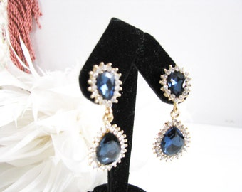 Gold toned Montana Blue Rhinestone Earring Drops Bridal Wedding Jewelry or Bridesmaids Gift Pageant Jewelry