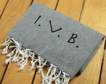SALE %50 Classic Turkish Towel COTTON PESHTEMAL Personalized Turkish Towel - Monogrammed Embroidered - Black - Spa Sauna Yoga