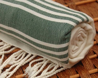 New with Small Weaving Defects - PERSONALIZED BAMBOO PESHTEMAL Towel - So Soft and Light - Highly Absorbent - Green