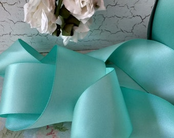 mint green double face satin