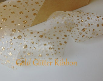 """Gold Ribbon 1.5""""  Sheer Glitter Ribbon , Gift Wrap, Weddings, By The Yard  Aniversery  Ribbon, Party Supplies, Wedding Favors By The Yard"""