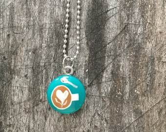 Hand Painted Latte Art Necklace in Teal Blue