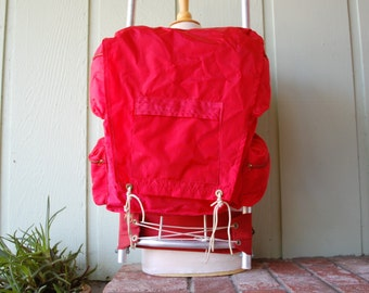 Vintage Mens Womens Red External Frame Hiking Backpack Ruck Sack Hike In Alpine Hiker Mountaineering Camping Hike Trekking Rugged Outdoor