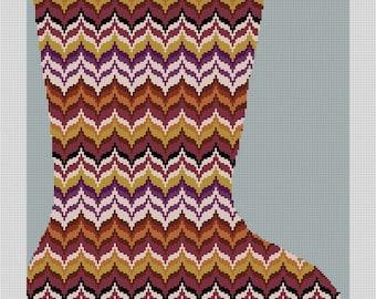 Autumn Wave Bargello Christmas Needlepoint Stocking Canvas