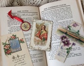 A Collection Of Antique Religious Paper Card Relics And Momentoes