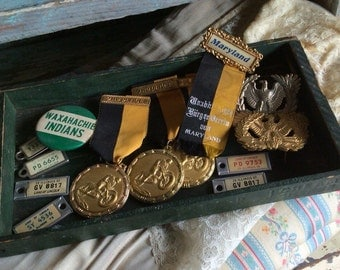 From His Junk Drawer Vintage To Your Craft Table Medals Eagles Ribbons & Mini Plates