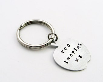 Teacher Keychain: Personalized Apple Key Chain Stamped with Name, Year, or Message for End of School Year (An Apple a Day) Gift