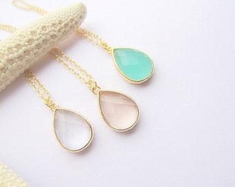 Teardrop Pendant Necklace / Gold Necklace / Light Blush / Mint Green / Crystal Clear / Bridesmaids / Drop / Bridal / Wedding
