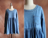 vintage 1990's pale blue denim rare levi's babydoll tent empire waist mini dress / size xs - s