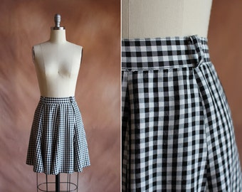 vintage 1990's black & white gingham rayon high waisted mini skirt / size s