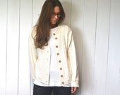 Cable Knit Cardigan Sweater LL Bean Cream Early 90s Vintage Cotton Slouchy Sweater Jacket Small Medium