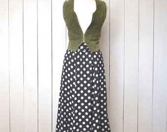 Polka Dot Skirt High Waist Vintage Early 90s Midi Black White Flutter Skirt XS Small