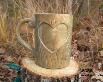 On Sale Personalized Valentine's Day Mug Tree Carved Wood Grain Mug Handmade Ceramic from my Charleston, SC Studio