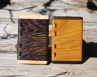 Handmade Wood Business Card Holders of Wenge & Curly Cherry or CanaryWood / Wenge with integral wood hinge