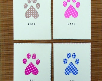 Pet lover's stationery heart shaped paw print set of 4 cards with envelopes