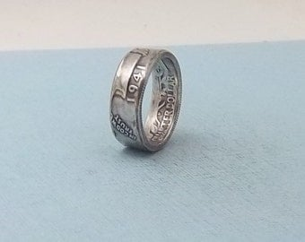 90% Silver coin ring washington quarter year 1941 size 7 1/2   silver coin ring  jewelry